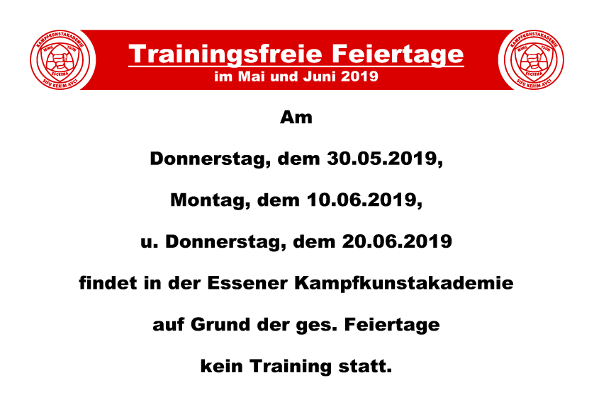 Info kein Training
